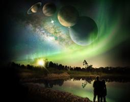 Animated image of two people looking up at huge planets.