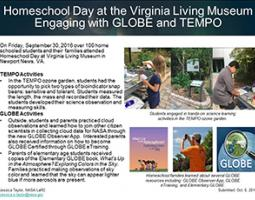 """Thumbnail of PowerPoint slide entitled """"Homeschool Day at the Virginia Living Museum: Engaging with GLOBE and TEMPO"""""""