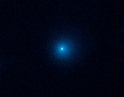 Blue comet in the distance of a black universe