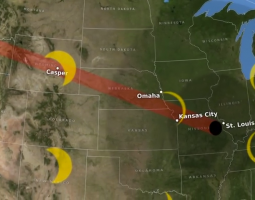 Map illustration of path solar eclipse will travel over the United States