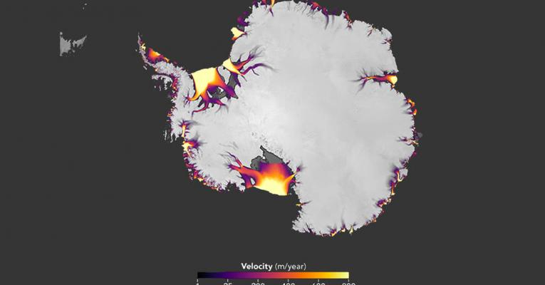 Map illustrating the flow of Antarctic ice