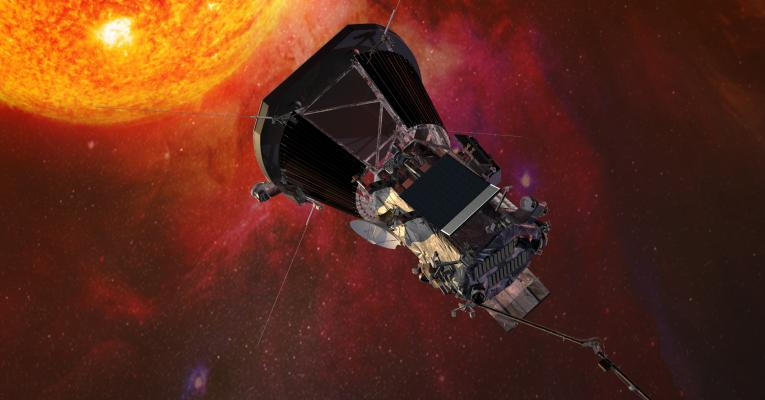 Illustration of Parker Solar Probe spacecraft approaching the sun