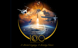 Illustration of launch for Langley's 100th Anniversary emblem