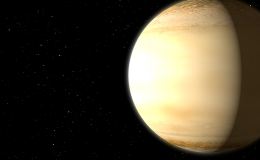 artists concept showing sun, beige planet