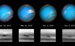 four part image with globes of neptune over BW closeups