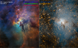 dual image of nebula one colorful, one blue white - annotations