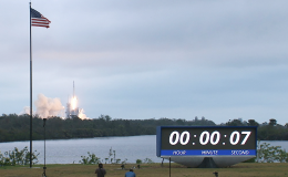 Photo of countdown clock for cargo launch to ISS
