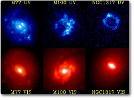 Image Showing Three Different Galaxies Taken In Visible Light (bottom Three  Images) And Ultraviolet